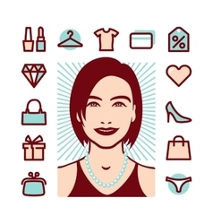 woman things icons vector image