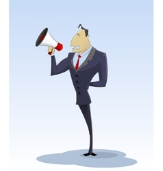 Young businessman with megaphone vector image
