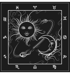 Astrology map with moon and sun vector