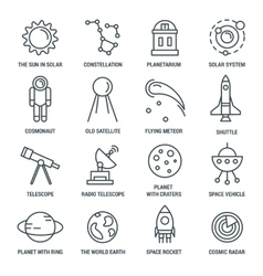 Space monochrome linear icons vector