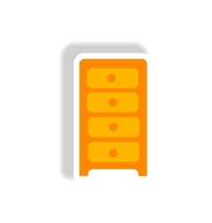 Stylish icon in paper sticker style office chest vector