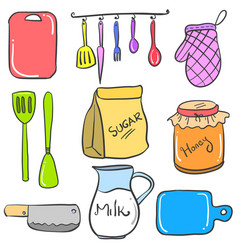 collection stock of kitchen accessories doodles vector image