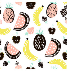 Exotic fruit seamless pattern great for kids vector