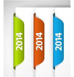 2014 Labels Stickers on the edge of the web page vector image vector image