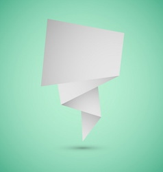 Abstract origami speech background on green vector image