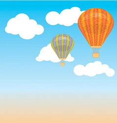 Hot air balloon and clouds in the sky back vector