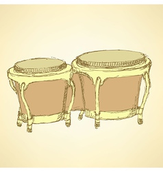 Sketch bongos musical instrument vector
