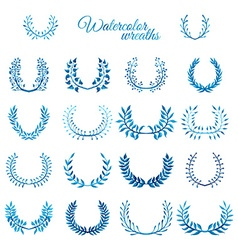 Set of blue watercolour wreaths vector