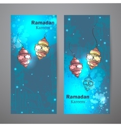 Set of two vertical banners for ramadan kareem vector