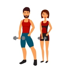 Fitness woman with personal trainer vector