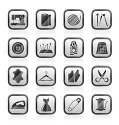 Sewing equipment and objects icons vector