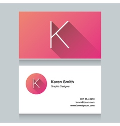 Business card letter k vector