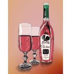 Two wineglasses with bottle of wine vector