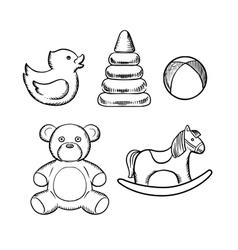 Bear duck ball pyramid and horse toys vector image