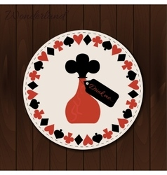 Bottle - drink coaster from wonderland on wooden vector