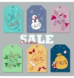 Set of christmas and new year discount tags vector