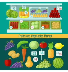 Fruits and vegetables market healthy eating vector