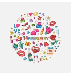 February set in circle vector