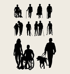 Disabilities and elderly silhouettes vector