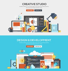 Flat design concept banner creative studio and vector
