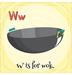Alphabet w is for wok vector