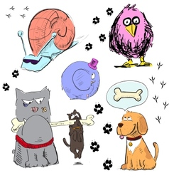 Cartoon animal characters colorful set vector image