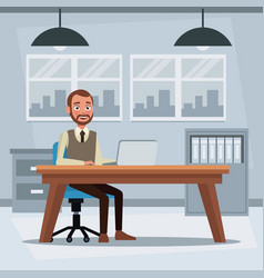 colorful background workplace office with vector image