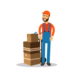 delivery man with cardboard boxes on a trolley vector image vector image