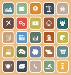 Economy flat icon on orange background vector