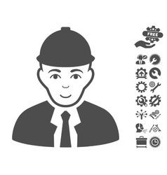 Engineer icon with tools bonus vector