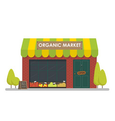 Facade of organic market shop template concept vector
