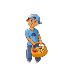 flat boy holding basket with fruit vector image