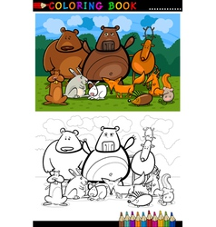 forest wild animals cartoon for coloring book vector image