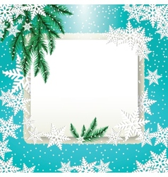 frame fir tree branches and snowflakes vector image vector image