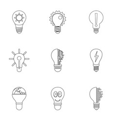 idea bulb icons set outline style vector image vector image