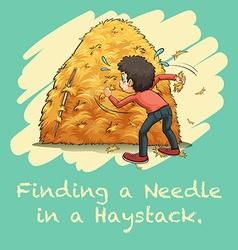Idiom finding a needle in a haystack vector