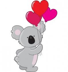 Koala heart balloons vector
