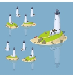 Low poly white lighthouse vector image