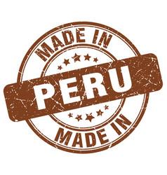 Made in peru brown grunge round stamp vector