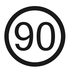 Maximum speed limit 90 sign line icon vector