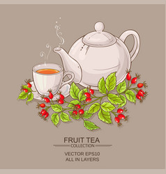 Mug of wild rose hips tea and teaapot vector