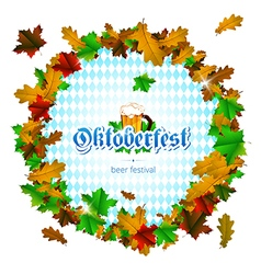 Oktoberfest round frame of maple leaves on white vector image