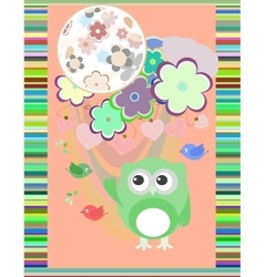 owl in love and bird with flowers textile vector image vector image