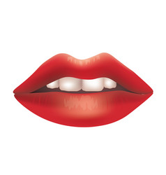 red lips with teeth vector image