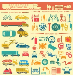 Set of auto repair service elements for creating vector image