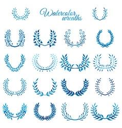 set of blue watercolour wreaths vector image vector image
