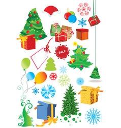 set of christmas set vector image vector image