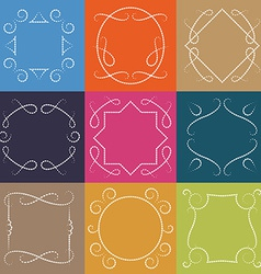 set of retro monograms Elegant Outline borders and vector image