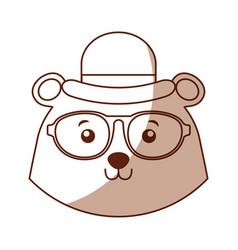 Shadow vintage bear face cartoon vector