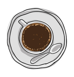 silhouette color hand drawn of coffee cup top view vector image vector image